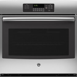 """GE - JT3000SFSS 30"""" 5.0 cu. ft. Capacity Built-In Single Wall Electric Oven With Self - Your GE 30 in Single Wall Oven in Black provides a full 50 cu ft capacity per oven for ample cooking space The Self-Cleaning Oven with Steam Clean Option cleans both loosened baked-on foods The Big View oven window allows you to see your food while c..."""