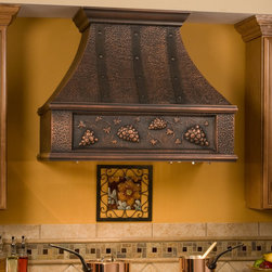 """36"""" Tuscan Series Copper Wall-Mount Range Hood - Grape Motif - Bring the feel of Tuscan wine country to your kitchen with this stunning Copper Range Hood, which features a charming, rustic grape design."""