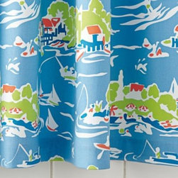 Serena & Lily - Skylake Toile Shower Curtain Oar Blue - Our take on classic toile, twisted a few degrees for added flair. The color is fresh, the scale unexpectedly exaggerated, and the pattern takes us to summers by the lake. In playful shades of oar blue, with lime green and white accents.