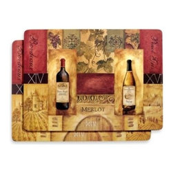 Avanti - Avanti Chateau Gregoire Placemats (Set of 2) - These beautiful placemats, celebrating wines and spirits, have a cork backing to protect tabletops.