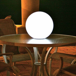 "Ball Rechargeable Light, Pearl, 10"" Dia, with Remote"