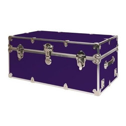 Rhino - Rhino Armor Storage Trunk in Purple (Extra La - Choose Size: Extra LargeTwo nickel plated steel universal wheel adapter plates mounted on the side of the trunk. Laminated armor exterior. Strong hand-crafted construction using both old world trunkmaking skills and advanced aviation rivet technology. Steel and aluminum aircraft rivets used to ensure durability. Heavy duty proprietary nickel plated steel hardware. Steel lid hinges and steel lid stay for keeping the lid propped open. Tight fitting steel tongue and groove lid to base closure to keep out moisture, dirt, insects and odors. Stylish lockable nickel plated steel trunk lock. Loop for attaching a padlock. Genuine leather handles. American craftsmanship. Self-sticking adhesive on the back of the name plate. Upper or lower case lettering. Lettering is in black. The name plate can take 24 characters per line. The max number of lines is 2. Warranty: Lifetime warranty includes free non-cosmetic repairs for the life of the trunk. Made from smooth 0.38 in. premium grade baltic birch hardwood plywood. No paper or plastic lining anywhere avoiding peeling or tearing. Name plate made from plastic. No assembly required. Cube: 20 in. W x 18 in. D x 18 in. H (22 lbs.). Small: 30 in. W x 16 in. D x 12.5 in. H (24 lbs.). Medium: 30 in. W x 16 in. D x 16 in. H (26 lbs.). Large: 32 in. W x 18 in. D x 14 in. H (27 lbs.). Extra Large: 34 in. W x 20 in. D x 15 in. H (32 lbs.). Extra Extra Large: 36 in. W x 18 in. D x 18 in. H (36 lbs.). Jumbo: 40 in. W x 22 in. D x 20 in. H (52 lbs.). Super Jumbo: 44 in. W x 24 in. D x 22 in. H (69 lbs.). Name Plate: 3 in. L x 1 in. H (0.5 lbs.)The hand-crafted American Made Rhino Armor Cube is constructed from the highest quality components. Rhino Armor is an exterior 1000d Cordura Nylon textured sheathing that's highly resistant to water penetration, denting and scratching. The Rhino Armor Cube is conveniently sized and ruggedly built. In fact, its strong enough to stand on ! The Rhino Ar