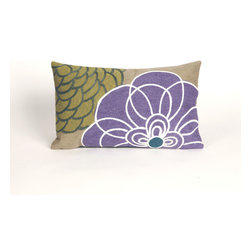 """Trans-Ocean Inc - Disco Purple 12"""" x 20"""" Indoor Outdoor Pillow - The highly detailed painterly effect is achieved by Liora Mannes patented Lamontage process which combines hand crafted art with cutting edge technology. These pillows are made with 100% polyester microfiber for an extra soft hand, and a 100% Polyester Insert. Liora Manne's pillows are suitable for Indoors or Outdoors, are antimicrobial, have a removable cover with a zipper closure for easy-care, and are handwashable.; Material: 100% Polyester; Primary Color: Purple;  Secondary color: green; Pattern: Disco; Dimensions: 20 inches length x 12 inches width; Construction: Hand Made; Care Instructions: Hand wash with mild detergent. Air dry flat. Do not use a hard bristle brush."""
