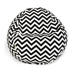 Majestic Home - Outdoor Black Chevron Small Bean Bag - Beanbags are the ultimate kid-friendly chairs: You can toss them anywhere, let them get kicked around and squished up, and you don't have to worry if this one gets left outside overnight. This small, snazzy chevron beanbag is just the right size for your kid to plop in front of a movie or out by the pool, and its fun chevron slipcover is safe for outdoors and removable for easy cleaning.