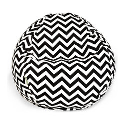 Majestic Home - Outdoor Chevron Small Beanbag, Black - Beanbags are the ultimate kid-friendly chairs: You can toss them anywhere, let them get kicked around and squished up, and you don't have to worry if this one gets left outside overnight. This small, snazzy chevron beanbag is just the right size for your kid to plop in front of a movie or out by the pool, and its fun chevron slipcover is safe for outdoors and removable for easy cleaning.