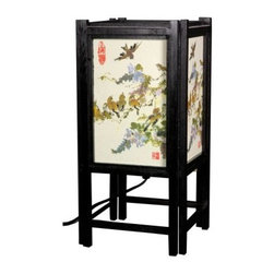 Art Shoji Lamp with Birds - Exquisitely delicate songbirds swoop and flutter across the Art Shoji Lamp with Birds. Designed to evoke a sense of peace this lamp draws inspiration from traditional Asian illustrations of the natural world. It features a durable wooden frame with a striking black finish decorated on each side with a unique hand-painted design. This UL-approved table lamp stands 14 inches tall and utilizes a classic inline switch. It requires a single 25-watt medium-base light bulb which is not included. Illuminate your home in style with this remarkable lamp.About Oriental FurnitureWhat began in 1985 as a simple retail store in Natick Mass. has now blossomed into Oriental Furniture one of the largest online retailers of furniture gifts and accessories. The company combs the globe for beautiful quality products and imports items directly from around the world in order to reduce costs for customers. With a wide variety of products available Oriental Furniture offers distinctive design solutions for the style-minded home decorator.