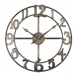Uttermost - Uttermost Delevan Clock - Uttermost Delevan Clock is a Part of Grace Feyock Designs Collection by Uttermost Features an open design and made of hand forged metal finished in antiqued silver leaf with burnished edges. Quartz movement. Clock (1)