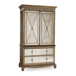 Horchow - Bristol Armoire - Regal bedroom furniture combines oversize tufted headboards with a shapely nightstand to create the perfect nighttime retreat. Save with discounted delivery and processing charges when you order a set. Handcrafted of hardwood solids and laminated lumber. Queen set includes queen bed and two nights