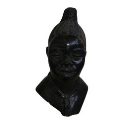 Michal and Company - African Woman Bust carved in Black Jasper - This striking bust of an African Woman is hand carved in natural stone, using only chisels, files and sandpaper. The workmanship from Zimbabwe is quite extraordinary. One-of-a-Kind.