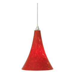 Tech Lighting - MOMelrose Pend lg red, ch - Gracefully shaped glass shade, richly layered in brilliant frit, with machined top detail. Includes lowvoltage, 50 watt halogen bipin lamp or 6 watt replaceable LED module and six feet of fieldcuttable suspension cable.