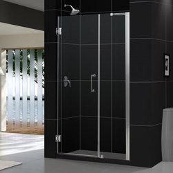 """DreamLine - DreamLine SHDR-20427210C-04 Unidoor Shower Door - DreamLine Unidoor 42 to 43"""" Frameless Hinged Shower Door, Clear 3/8"""" Glass Door, Brushed Nickel Finish"""