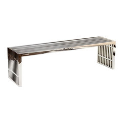 Modway - Gridiron Stainless Steel Bench LARGE - Silver rivers of laughter race back and forth in this high energy modern piece. Gridiron's sleek stainless steel bench contains a message of transformation and metamorphosis. Exuberance abounds as the strategic placement of this piece will radiate a happy atmosphere.