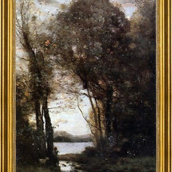 """Jean-Baptiste-Camille Corot-16""""x24"""" Framed Canvas - 16"""" x 24"""" Jean-Baptiste-Camille Corot Goatherd Standing, Playing the Flute Under the Trees framed premium canvas print reproduced to meet museum quality standards. Our museum quality canvas prints are produced using high-precision print technology for a more accurate reproduction printed on high quality canvas with fade-resistant, archival inks. Our progressive business model allows us to offer works of art to you at the best wholesale pricing, significantly less than art gallery prices, affordable to all. This artwork is hand stretched onto wooden stretcher bars, then mounted into our 3"""" wide gold finish frame with black panel by one of our expert framers. Our framed canvas print comes with hardware, ready to hang on your wall.  We present a comprehensive collection of exceptional canvas art reproductions by Jean-Baptiste-Camille Corot."""