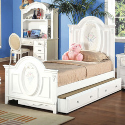 """Acme Furniture - Flora Full Panel Bed with Trundle in White - Flora Full Panel Bed with Trundle in White; Finish: White; Dimensions: 57""""H"""