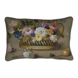 """EuroLux Home - New Hand-Painted Linen Throw Pillow 16""""x24"""" - Product Details"""