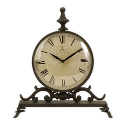iMax - iMax Eilard Iron Table Clock X-26572 - Traditional iron table clock with roman numerals,