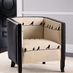 """Birds on Wire"" Chair - ""Birds on Wire"" chair has a whimsical feel as it brings a touch of nature into the home.  Nai-lhead trim classically finishes this stylish tuxedo chair. 34""Sq. x 36""T"