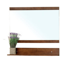 Bellaterra Home - Solid Wood Frame Mirror-Walnut - Simple wood frame rectangular mirror features with a wooden shelf for easy shelf storage. Dimension: 43.3 W x 5 D x 33.5 H