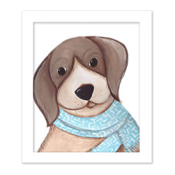 Doodlefish - Bentley Beagle - Bently is a cute scarf wearing Beagle that is part of our series of four pooch portraits. The artwork is a framed 11x14 - finished size 15x18. Click on More Images to see the choice of distressed frame and even add personalization. The set of four dogs includes Dennis Dalmatian, Storm Springer and Benny Bulldog.