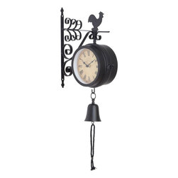 Benzara - Mount Metal Outdoor Double Clock - Metal Outdoor Double Clock is an excellent anytime low priced wall decor upgrade option that is in. H demand modern age low budget home interior fashion. This double sided clock is beautifully sculptured and designed by the experienced artists and technicians.