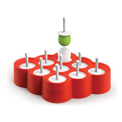 """Frontgate - Zoku Mini Pop Mold - Not only can you make your own gourmet desserts at home, it's easy to just """"pop them out."""". BPA and phthalate free. Combine juice, yogurt, and fruit for an endless variety. Make up to nine delicious pops at once. Set includes: 1 Mini Pop Mold, 9 reusable sticks with drip guards. Next time you serve dessert, have some fun with ice pops. The ingenious design of these frozen treat makers lets you freeze liquids like juice or yogurt in the specially designed molds. After they are frozen, simply pop them out of the molds and enjoy. Not only can you make your own gourmet desserts at home, it's easy to just """"pop them out.' .  .  .  .  . Can double as a candy mold for distinctive-looking lollipops."""