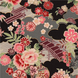 black-grey Japanese flower fabric with gold by Kokka - cotton fabric with Japanese flowers, maple leaves, bridges & gold embellishments