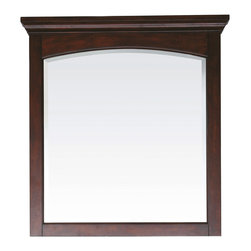 None - Avanity Vermont 36-inch Mirror in Mahogany Finish - The Vermont poplar wood framed mirror features a mahogany finish with an arched detailing design. This mirror hangs vertically and matches the Vermont vanity collection for a coordinated look and includes mounting hardware that makes leveling easy.