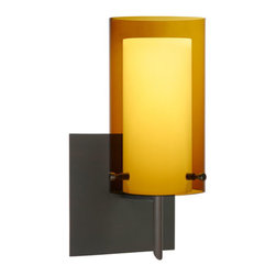 Besa Lighting - Pahu Bronze One-Light Halogen Square Canopy Wall Sconce with Transparent Armagna - - The Trans-Armagnac colored blown glass complements the soft white Opal cased glass, which can suit any classic or modern decor. Opal has a very tranquil glow that is pleasing in appearance, as the Trans-Armagnac glass sparkles with the accents from that glow. The smooth satin finish on the opal?s outer layer is a result of an extensive etching process. This blown glass combination is handcrafted by a skilled artisan, utilizing century-old techniques passed down from generation to generation.  - Bulbs Included  - Shade Ht (In): 7  - Shade Wd/Dia (In): 4  - Canopy/Fitter Ht (In): 5  - Canopy/Fitter Dia/Wd (In): 5  - Title XXIV compliant  - Primary Metal Composition: Steel  - Shade Material: Glass  - NOTICE: Due to the artistic nature of art glass, each piece is uniquely beautiful and may all differ slightly if ordering in multiples. Some glass decors may have a different appearance when illuminated. Many of our glasses are handmade and will have variances in their decors. Color, patterning, air bubbles and vibrancy of the d�cor may also appear differently when the fixture is lit and unlit. Besa Lighting - 1SW-G44007-BR-SQ