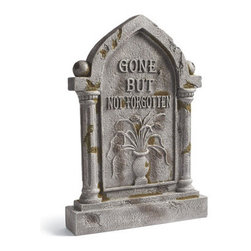 "Grandin Road - Gone But Not Forgotten Halloween Gravestone - Halloween Decorations and Decor - The look is identical to a natural stone marker but our gravestone is much lighter and features 360° of delightfully devious Halloween imagery. A hand-rubbed finish with hints of faux moss enhances the realistic look. Crafted of durable all-weather polyresin and stone powder to stand strong when the wicked Halloween winds blow. Any lawn becomes an instant graveyard by adding our frightfully realistic ""Gone But Not Forgotten' Gravestone. The look is identical to a natural stone marker but our gravestone is much lighter and features 360 degrees of delightfully devious Halloween imagery .  .  . A Grandin Road exclusive."