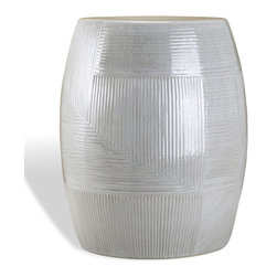 Kathy Kuo Home - Solana Coastal Beach Gray Ceramic Garden Stool - This sleek, ceramic stool is versatile and unique. Use it as a decorative end table, a small stool or even a nightstand. The hand-applied, light gray glaze has variations in color and texture, making each piece one of a kind.