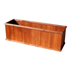 Churchill 60' Rectangular Planter - The best selling wood planter in America is now available for shipment directly to your door.  And with our PieceOCake assembly, you will have a beautiful planter far superior in construction to those available in traditional retail stores since we use wood screws rather than staples. Youwon't find planters of this size or quality at your local retailer.