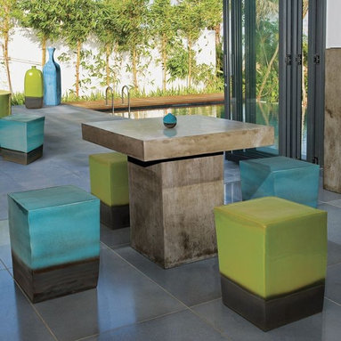 Perpetual Outdoor Table is Sustainable and Biodegradable - The Perpetual outdoor dining table is hand-made with a mixture of natural sands and a hemp-like grass that produces a very durable but light-weight concrete.