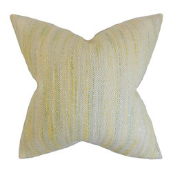"The Pillow Collection - Lakota Stripes Pillow, Lemon 18"" x 18"" - Bring a sunny vibe to your living space with this alluring decor piece."