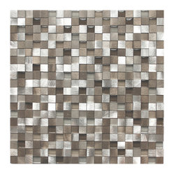 Eden Mosaic Tile - 3D Silver and Pewter Aluminum Square Mosaic Tile, Sample - Aluminum mosaic tiles provide the look of stainless steel metal mosaic tiles but with added texture and durability. The circular brushed aluminum finish gives a unique modern aesthetic while the extruded structure of the tiles provides superior durability and support once installed. If you are considering metal mosaic tiles for your kitchen or bathroom backsplash or perhaps for an accent wall then you should seriously consider our collection of aluminum mosaic tiles. Imported.