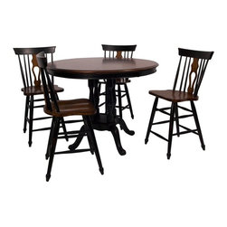 Sunset Trading - Sunset Trading Fiddleback 48 in. Round Cafe Table Multicolor - DLU-TRP-4848-CTB- - Shop for Dining Tables from Hayneedle.com! The Sunset Trading Fiddleback 48 in. Round Cafe Table adds classic charm to your home without compromising space or style. Hand-crafted from eco-friendly Malaysian hardwood this versatile cafe table is ideal for all kinds of get-togethers. It features a unique solid wood poster-styled pedestal base. Warm and inviting the beautiful finish features antique white and chestnut tones lending classic beauty and craftsmanship. The Fiddleback cafe table with seating for four to six guests will bring warmth and comfort to your home for years to come. Dimensions: 48 diam. x 36H inches.About Sunset TradingThis product is designed and manufactured by Sunset Trading. Located in Londonderry New Hampshire Sunset Trading creates high quality furniture for bedrooms living and dining rooms. Their furniture features side roller drawer guides four corner English dovetails solids and veneers. Dining rooms feature epoxy resin constructed chairs with metal support brackets which make their chairs 100 times stronger than glued chairs. Rest assured you're making an excellent choice when you purchase a fine furniture item from Sunset Trading.