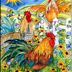 The Tile Mural Store (USA) - Tile Mural - Good Morning  - Kitchen Backsplash Ideas - This beautiful artwork by Kathleen Parr McKenna has been digitally reproduced for tiles and depicts a nice farm scene with roosters.  Rooster tile murals and decorative tiles with roosters are the perfect addition to your kitchen backsplash tile project. You can't go wrong with any of our decorative rooster tiles - each one is beautiful and will certainly add interest to your kitchen wall tile. Tile murals of roosters are timeless and will never go out of style. Add something unique to your kitchen backsplash behind your stove or sink.
