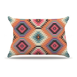 """Kess InHouse - Amanda Lane """"Navajo Dreams"""" Orange Pink Pillow Case, King (36"""" x 20"""") - This pillowcase, is just as bunny soft as the Kess InHouse duvet. It's made of microfiber velvety fleece. This machine washable fleece pillow case is the perfect accent to any duvet. Be your Bed's Curator."""