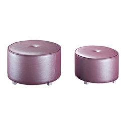 Standard Furniture - Standard Furniture Celine Upholstered Round Nesting Stool in Purple - Cute as a button, Celine Nesting stools offer a bit of extra sitting space for youth bedroom.