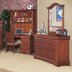 Alpine Furniture - Alpine Furniture Louis Philippe 8 Drawer Dresser with Optional Mirror - ALPE289 - Shop for Dressers from Hayneedle.com! The Alpine Furniture Louis Philippe 8 Drawer Dresser with Optional Mirror features a European design that goes deeper than its elegant exterior. The frame features authentic English and French dovetailing techniques for an accurate appearance and longer-lasting durability. Sturdy solid rubberwood solids are used to construct the frame overlaid with a veneer and completed by a handsome medium cherry finish. Six spacious storage drawers are included in the dresser's design featuring bottom-mounted metal Kenlin rails. Two slim top drawers are included to allow you to stow jewelry timepieces and other accessories. An optional mirror is included featuring a matching hardwood frame with a cherry finish. Dimensions: 38W x 1D x 40H inches. No assembly is required.About Alpine FurnitureAlpine furniture knows that certain things never go out of style. Their furniture products are designed and constructed with classic English and/or French dovetailing that provides a sturdy result and an unbeatable aesthetic. For over 20 years Alpine has provided its customers with a variety of wood products from the bedroom dining room and living room. Each piece is design to meet the highest-quality standards of design durability and dependability. Customer satisfaction is of the utmost importance to Alpine who have altered their designs over the years based on customer input in order to attain excellence in all areas.