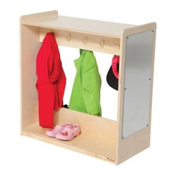 Wood Designs Dress-Up Center - The Wood Designs Dress-Up Center is just what budding fashion enthusiasts need. It features five double hooks and full-length shoe shelves on both sides. An acrylic safety mirror is attached to one end. This dress-up center is made in the USA from 100% Healthy Kids™ 11-ply Baltic birch plywood. It's recommended for ages 12 months and up.About Wood DesignsDenny and Debbie Gosney, with a combined 50 years of manufacturing experience in the early learning industry, founded Wood Designs to do things a better way. Their products are made in the USA from 100% Healthy Kids™ 11-ply Baltic birch plywood sealed in an exclusive Tuff-Gloss™ UV finish. They're GREENGUARD certified, certified CARB II compliant, and CPSIA compliant. Expect Wood Designs' products to feature heavily rounded edges and corners, Tip-Me-Not™ doors, Pinch-Me-Not™ hinges, and a manufacturer's lifetime warranty.The Advantages of GREENGUARD CertifiedGREENGUARD is a voluntary product certification standard designed to improve indoor air quality. In order to achieve GREENGUARD certification, a product must pass stringent chemical emissions requirements. Wood Designs' products do not emit harmful contaminants (also known as VOCs) into the atmosphere.More About Healthy Kids™ PlywoodProducts made with Healthy Kids™ plywood have safety, strength, and sustainability in mind. Wood Designs' Healthy Kids™ plywood is certified CARB II Compliant, CPSIA compliant, and learning institutions may even qualify for LEED IEQ 4.5 credit based on its use.