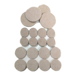 Magic Felt Heavy Duty Pads 3/4, 1 & 1 1/2 Inch Self Stick Round Pack of 36 - Protects tabletops and countertops from scratches. Ideal for accessories lamps, coffee makers, toasters, ashtrays, platters, vases, telephones, picture frames, more. Use on VCRs, vases, lamps, kitchen appliances, TV, DVD players, etc. 8 Self adhesive pads in package