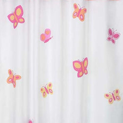 "Sweet Jojo Designs - Butterfly Pink & Orange Shower Curtain - The Butterfly Pink & Orange Shower Curtain is a great way to make over your child's bathroom. Add a designer's touch and some fun colors to your bathroom with this lovely Shower Curtain.  The Shower Curtain measures 72"" x 72"" and is machine washable. Shower hooks and liner are not included."