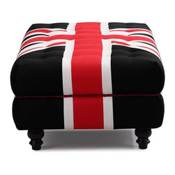 Zuo Modern - Zuo Modern Union Jack Modern Ottoman X-562009 - Stay patriotic with our Union Jack series. Made from a plush microfiber and tufted for a classic look. Comes in an armchair, loveseat, sofa and ottoman.