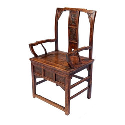 Carved Chinese Arm Chair - Elegantly carved Chinese Arm Chair has a natural patina and lustre that only comes with age. Comfortable as is or add a thin cushion for more comfort. Great as hall chair or a unique addition to any dining table.