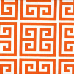 Close to Custom Linens - Twin Bedskirt 18 inch Drop Gathered Towers Orange - Towers is a medium scale geometric in orange on natural cotton. Gathered with 1 1/2 to 1 fullness, split corners and a 18 inch drop. 100% cotton with a cotton/poly platform.