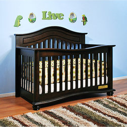 AFG Baby - AFG Baby Jordana Convertible Crib in Espresso - The Lia Crib from our Jordana Collection boasts a bold  assertive style that brings pronounced elegance into any nursery. Designed with a tasteful twist on the classic missionary style  the Lia Crib is timeless and sure to become the centerpiece of those joyous early years. Uncompromising in quality and strength  the Lia is built to last with a solid hardwood construction and nontoxic finish. It features an adjustable 3-level mattress support can be converted into a toddler bed or full-size bed. Guardrail and conversion rails sold separately.