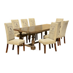 Sierra Living Concepts - Italian Mango Wood Dining Table & 8 Parsons Chairs - We combined the beauty of classic 16th Century Italian design with modern Parisian style in this elegant Dining Room Table and 8 Parsons Chair Set.
