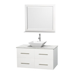 "Wyndham Collection - Centra 42"" White Single Vanity, White Carrera Marble Top, White Porcelain Sink - Simplicity and elegance combine in the perfect lines of the Centra vanity by the Wyndham Collection. If cutting-edge contemporary design is your style then the Centra vanity is for you - modern, chic and built to last a lifetime. Available with green glass, pure white man-made stone, ivory marble or white carrera marble counters, with stunning vessel or undermount sink(s) and matching mirror(s). Featuring soft close door hinges, drawer glides, and meticulously finished with brushed chrome hardware. The attention to detail on this beautiful vanity is second to none."
