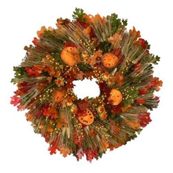 "Morning Harvest Dried Floral Wreath - It's called ""Morning Harvest,"" and it really does look it with the luscious, rich fall colors on a twig base. Maybe you can put this wreath on your rich, dark green front door? It's a wonderful statement piece."