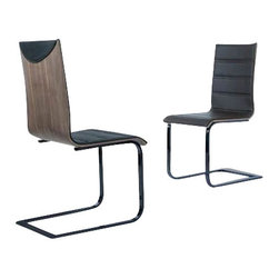 Tosh Furniture - Modern Dining Chairs - Set of 4 - A superb design is found in this set of four dining chairs. The chrome flat metal frame, wood veneer chair back and comfortable leather design is both accommodating though formal, too. You'll appreciate the horizontal lining in the chair seat and back and the semi-circular flap near the top chair back adds a final touch that sets these seating options apart. The armless design ensures you never feel cramped. This makes a lovely choice for the Stan dining table.